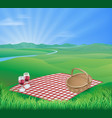 picnic in beautiful rural scene vector image vector image