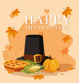 pilgrim hat of thanksgiving day with set icons vector image vector image