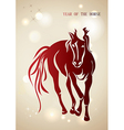 red chinese new year horse 2014 background vector image vector image