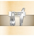 restaurant menu knife and fork on a paper vector image