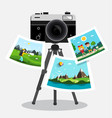 retro film photo camera on tripod with pictures vector image