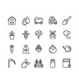 rural agriculture thick line icons set vector image vector image