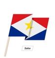 Saba Ribbon Waving Flag Isolated on White vector image