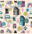 seamless pattern with cute little village in vector image