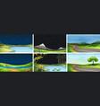 set natue landscape vector image vector image