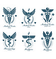 set of caduceus logotypes can be used in vector image vector image