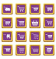 shopping cart icons set purple vector image vector image