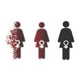 sparkle pixel halftone female fertility icon vector image vector image