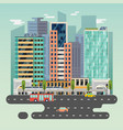 town or city with cars and train solar battery vector image vector image