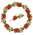 wreath of leaves and berries of cranberries vector image