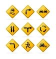 yellow road traffic signs set vector image vector image