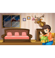 A mother sewing clothes inside the house vector image vector image