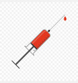 a syringe with a drop of red vector image