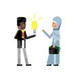 african businessman holding idea light bulb vector image vector image