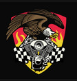 bald eagle hold motorcycle engine vector image vector image