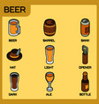 beer color outline isometric icons vector image vector image