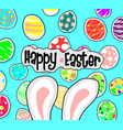 big bunny ears and egg on blue back ground vector image