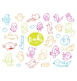 Birds set Hand drawn characters doodles vector image