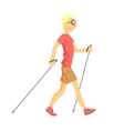 Blond Man In Shades Doing Nordic Walk Outdoors vector image vector image