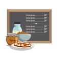 breakfast menu syrup pancake milk cereal vector image