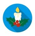 Christmas candle with holly berry icon in flat vector image vector image