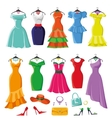 Colored summer dresses and accessories big set vector image vector image