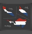 curacao - aruba - sint maarten netherlands map vector image vector image