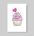 cute cupcake on valentine day greeting card doodle vector image