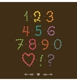 Cute hand drawn numbers with hearts vector image