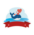 cute whale with hearts and ribbon in ocean vector image vector image
