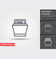 dishwasher line icon with editable stroke vector image vector image