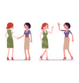 female friends greeting vector image vector image