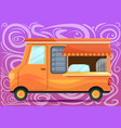 food truck concept banner cartoon style vector image vector image