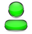 green glass button round and oval web icons vector image vector image