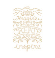hand lettering poster in linear style vector image vector image