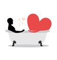 Heart of man in bath Man and symbol of love is vector image