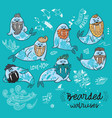 hipster walruses with beards and tattoos in vector image vector image