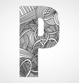 Letter P from doodle alphabet vector image