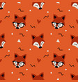 little cute fox head seamless pattern flat orange vector image vector image