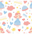 little princess seamless pattern baby girl shower vector image vector image