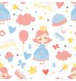 little princess seamless pattern bagirl shower vector image