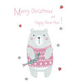 merry christmas greeting card with cute xmas bear vector image