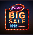 neon sign big sale open vintage electric signboard vector image vector image