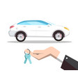 new car concept with keys in hand isolated on vector image vector image