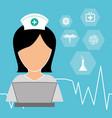 nurse laptop working medicine vector image vector image
