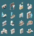 pharmaceutical production isometric icon set vector image
