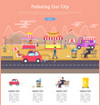 polluting our city poster vector image