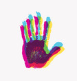 print human hand scanning palm and fingers vector image