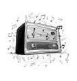 retro radio sketch for your design vector image vector image