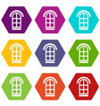 semicircular window frame icons set 9 vector image vector image